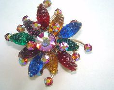 Vintage Jewelry Flower Signed Art Rhinestone by sanibelsands