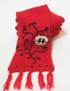 Women's Red Scarf Lovebirds Scarf Women's Knit