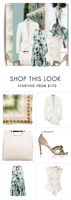 """""""Untitled #1261"""" by lavendergal ❤ liked on Polyvore featuring Class Roberto Cavalli, Donna Karan, Gucci, Altuzarra, Chesca and Ermanno Scervino"""