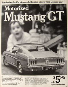 vintage toy ads | 1967 Motorized Toy Mustang GT Ad, Vintage Toy & Game Ads