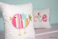Little Bird Chenille Throw Pillow  Extra Cute  by acherryontop, $20.00