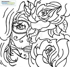 Sugar Skull Rose Tattoo Coloring Pages