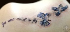 Blue Jays and script from Yvonne Koprnicky #ascendingkoi #tattoos #script #bluejays