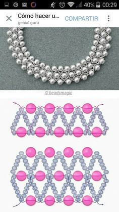Best 12 Free pattern for beaded necklace using seed beads and pearls. DIY bead jewellery making – Page 625859679446730212 Beaded Necklace Patterns, Beaded Jewelry Designs, Handmade Beaded Jewelry, Bead Jewellery, Seed Bead Jewelry, Jewelry Making Beads, Beaded Bracelets, Seed Beads, Jewelry Necklaces