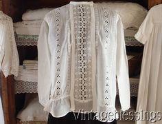 Antique Edwardian White Crochet Lace Blouse Shirtwaist 49