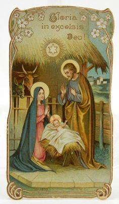 Gloria in Excelsis Deo Old Christmas Holy Card Nativity Holy Family Embossed 11503 epsteam by QueeniesCollectibles on Etsy