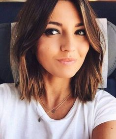 chocolate and cinnamon shoulder length bob