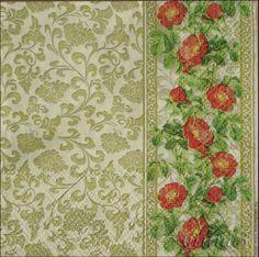 Купить салфетки декупаж 2 вида узор цветы розы ажур золото орнамент - золотой