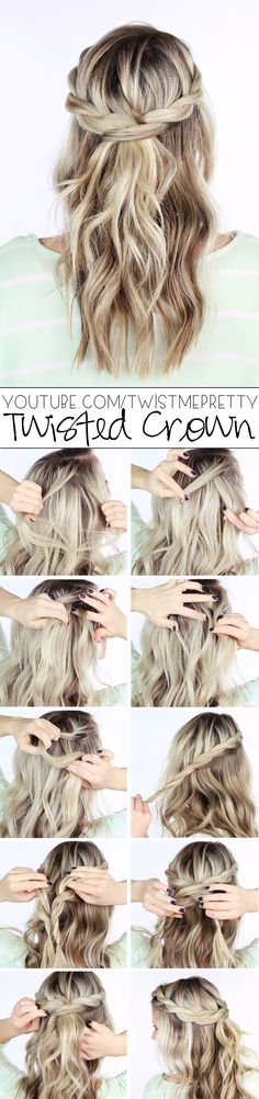Are you not in love with this hairstyle?  I think my most favorite thing about the twisted crown braid it is it takes literally five seconds to do.  See video tutorial at youtube.com/twistmepretty!