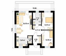 Fistaszek 2 projekt domu - Jesteśmy AUTOREM - DOMY w Stylu Farm Plans, Tiny House Plans, Facade House, Two Bedroom, Floor Plans, 1, How To Plan, House Styles, Bungalows