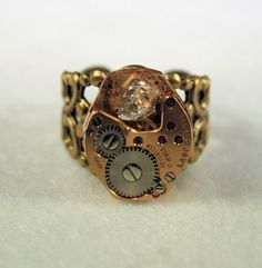 Steampunk  Adjustable Ring With a Beautiful HERKIMER DIAMOND Set In A | TheSteamPunkTrunk - Jewelry on ArtFire