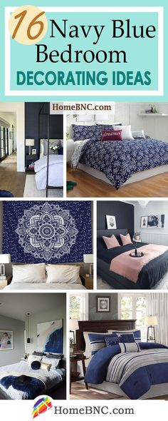 16 Navy Blue Bedroom Design and Decor Ideas for a Timeless Makeover - Homebnc.site - Beautiful and Creative Home Design and Decor Ideas Teal Bedroom Decor, Peach Bedroom, Blue Master Bedroom, Guest Room Decor, Apartment Bedroom Decor, Gold Bedroom, Bedroom Ideas, Mustard Bedroom, Budget Bedroom