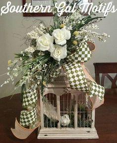 For SUSAN COBLE  Decorative birdcage with nest and bird Wedding birdcage Shabby Chic decor Wedding decor Spring decor