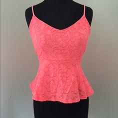 Neon Pink Peplum Top Fits size 6-10 Tops Crop Tops