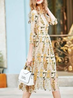 3/4 Sleeve Floral Casual Embroidered Midi Dress