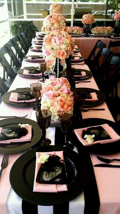 Pink and Black table setting.