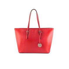 The Journey Tote Red by Dicami. An elegant yet functional tote made from scratch resistant Italian Saffiano leather. Made in Italy using fine Italian leather. Italian Leather, Journey, Italy, Handbags, Tote Bag, Elegant, Red, Fashion, Classy