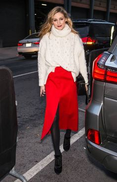 Olivia Palermo is seen arriving to the Marchesa fashion show during New York Fashion Week The Shows at Gallery 2 Skylight Clarkson Sq on February 15...