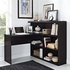 """Trilium Way Sit/ Stand L-Shaped Desk - $179.99 @ Overstock.com - 43""""h x 47""""w x 47.24""""d - back of unit is finished to allow for optimum placement"""