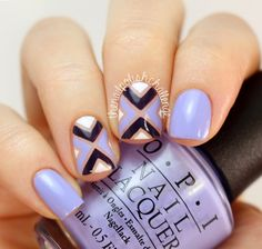 Purple OPI Striping Tape Nail Art - The Nail Polish Challenge