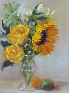"""Sunflowers & Roses"" Oil Painting by Pat Fiorello, http://patfiorello.blogspot.com, www.patfiorello.com"
