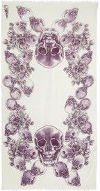 Horiyoshi the Third Skull silk and cashmere-gauze scarf