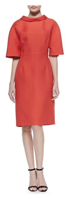 Carolina Herrera Wide-Sleeve Funnel-Collar Dress, Lava Red - was $3490.0, now $1256.4 (64% Off) @ Neiman Marcus