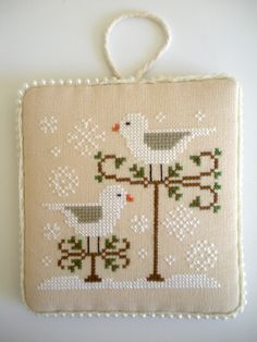 Completed Snow Birds Cross Stitch, Finished Cross Stitch Pinkeep, Needlework, Handstitched by CraftyMJC on Etsy