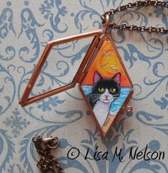 Tuxedo Cat at the Beach Original Art Miniature by ArtbyLisaMNelson
