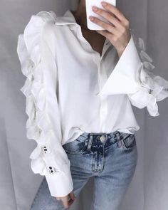 Women Blouses - Blouses for ladies Celmia Stylish Tops Women Plus Size Ruffles Blouse Sexy Hollow Out Female Shirts Tunic Long Sleeve Casual Loose Office Blusas 7 The Office Shirts, Ruffle Shirt, Stylish Tops, Collar Shirts, Shirt Blouses, Blouses For Women, Dame, Shirt Style, Tunic Tops