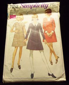 Misses Dress with Two Necklines Simplicity 7852  1960s sewing patterns retro clothing vintage clothing sewing mad men size 14 bust 36