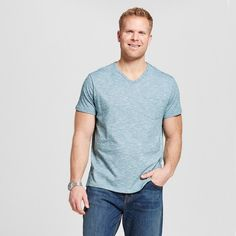 Men's Big & Tall V-Neck Jersey T-Shirt Teal (Blue) 4XB Tall - Merona