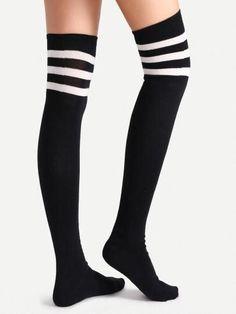 Black Varsity Stripe Over The Knee Socks Basketball Shorts Girls, Basketball T Shirt Designs, Basketball Games For Kids, White Basketball Shoes, Adidas Basketball Shoes, Wsu Basketball, Over The Knee, Custom Socks, Tube Socks