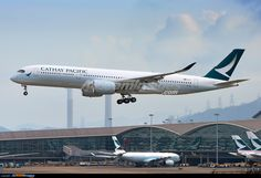 "Cathay Pacific's first A350-900 XWB arriving Hong Kong in the morning on May 29th, 2016 following an eleven hour thirty minutes delivery flight from Toulouse.  The A350 will first serve regional destinations as part of the crew familiarisation phase, before being introduced to long-haul services to London Gatwick from September. The plan also calls for ""selective replacement of a few B777 routes to current European destinations.""  First revenue service is scheduled for June 1st, operating…"