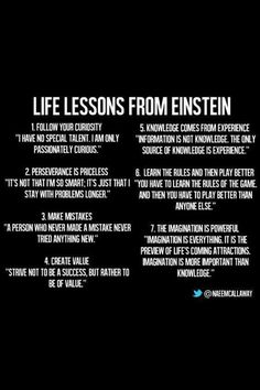 Take these life lessons from Albert Einstein in mind. Quotable Quotes, Wisdom Quotes, Quotes To Live By, Motivational Quotes, Inspirational Quotes, E Mc2, Albert Einstein Quotes, New Energy, Good Advice