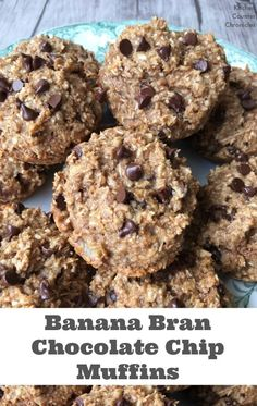 Banana Bran Chocolate Chip Muffins - Get rid of those cardboard tasting bran muffins! These muffins are made with whole wheat flour, wheat bran and honey. A healthier and delicious remake of bran muffins. | Muffin Recipe | Bran Recipe | Healthy Recipe | Dessert | Snack Recipe |