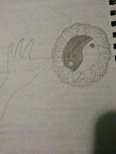 My drawing of yin yang lotus and hand