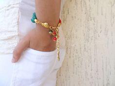 Red & Green Turkish Silk BraceletGold Plated Gem by sevinchjewelry, $32.00 #bracelet #fashion