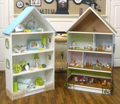 Billy bookcase IKEA hack. I love the size of the doll house - I think it would be great fun to decorate!