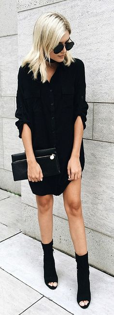 City Strut Black Shirt Dress All black