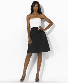 Ralph Lauren Womens Dress L'opera, Black/White: Clothing