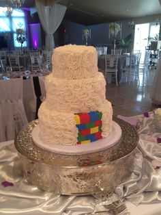Tall lego wedding cake.