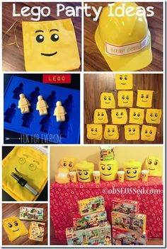 Tons of Lego Party ideas. DIY Lego draw string favor bags, mini fig chocolates, Lego building hats and more. #Lego #LegoDuplo @Allison House Party