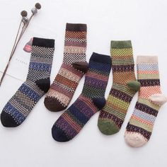 Fashion Warm Stripe Wool Casual Men Socks Clothing Accessories New One Size Print Cotton Polyester