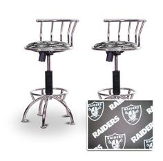 "2 24""-29"" Oakland Raiders Seat Chrome Adjustable Specialty / Custom Barstools Set by The Furniture Cove. $198.88. 24"" to 29"" Adjustable Seat Height. Back Rest and Foot Rest. Chrome Metal Finish. Swivel Seat. Oakland Raiders NFL Football Themed Fabric Print Seat. These have a fitting appearance for a wide variety of places. They look and feel great, feature an Oakland Raiders NFL Football themed fabric print seat, and are impressively versatile. The frame is made..."