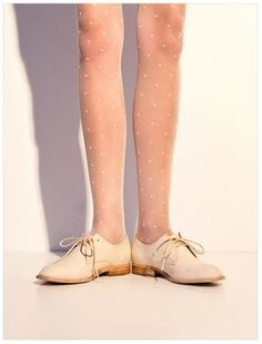 Ivory swiss dot tights and oxfords