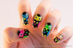 My Adventures in Nail Art: Finger Food's Theme Buffet: Cute Owl Nail Art, Owl Nails, How To Cut Nails, Kawaii Nails, Girls Nails, Pretty Nail Art, Food Themes, Cool Nail Designs, Cute Nails