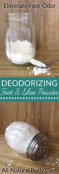 Cooling Foot and Shoe Deodorizing Powder: This DIY All-Natural Deodorant Powder Fights Odor & Stinky Feet Natural body care. Diy Cosmetic, Deodorize Shoes, Foot Powder, All Natural Deodorant, Baking Soda Shampoo, Natural Cleaning Products, Feet Care, Homemade Beauty, Home Remedies