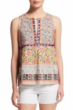 Anaba Embroidered Printed Cotton Top     Calypso St. Barth