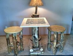 Aspen game table w/bar stools - made by my dad, available for sale $200 (table) stools available seperately $85 each